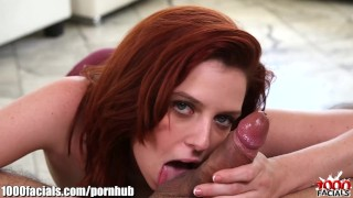1000Facials My cock spitting on a redhead bitch's forhead! Cowgirl young