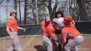 Slutty fan team fucks baseball rope gangbang