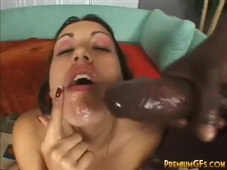 Brunette chick Megan getting banged by black cock