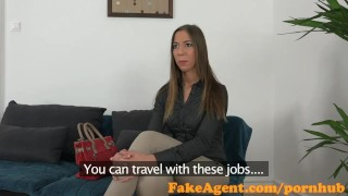 Preview 1 of FakeAgent Cute amateur gets ass sprayed with spunk in casting