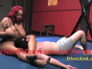 Black BBW Amazon Wrestles White Wimp