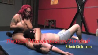 Black BBW Amazon Wrestles White Wimp  interracial kink bondage big boobs femdom face sitting thefetishwarehouse bbw face sitting ebony redhead chubby wrestling