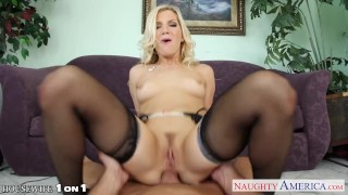 Beauty blonde housewife Ashley Fires take cock in POV