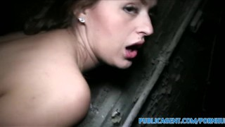 PublicAgent Brunette with big boobs fucked in a cellar Brother point