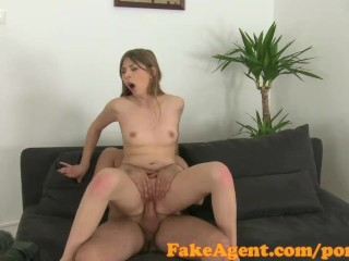 FakeAgent Shy blonde babe takes first time facial in office