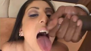 Hot latina chick getting banged in the ass by black dude