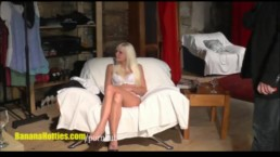 Sexy blondie does strip at the first CASTING of her life