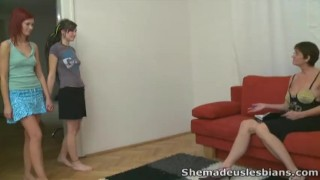 Preview 1 of She Made Us Lesbians - Two young lesbian are learning