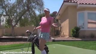 Big Tit Golfer Maggie Gets Hole in One!