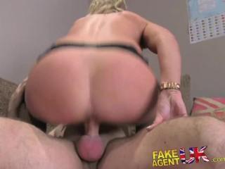 FakeAgentUK creampie for sexy blonde MILF in adult casting