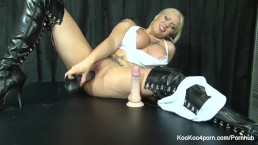 Sexy Lexi fucks herself with a big black dildo