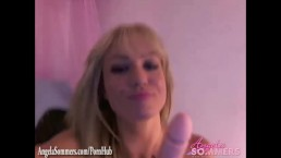 Hot blonde rides a dildo on web cam