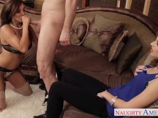 Sexy wives Francesca Le and Jillian Janson share cock
