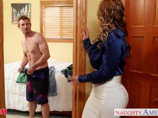 Preview 4 of Nasty mom Eva Notty fucking dick with her tits