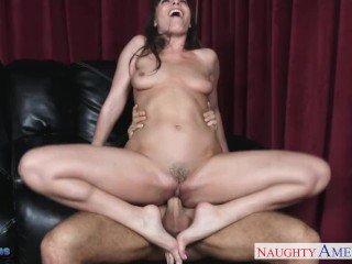 Surprise Wife With Threesome Fucking, Brunette DanA DeArmond gets nailed and facialized Brunette Cum