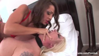 Abigail Mac dominates Leya Falcon and sticks a toy in her ass