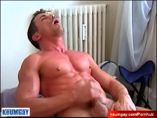 Sexy gym guy gets wanked his big cock by us! (Thomas)