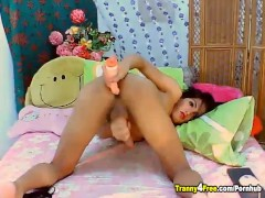 Cute Tranny Jerking Her Hard Dick