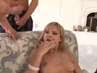 Euro babe Abbie Cat gets Double Penetrated.
