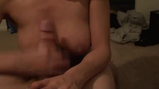 Huge Natural Tits Ashley, Gives BJ With Facial Wearing PigTails