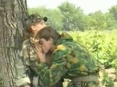 Army fucking outside