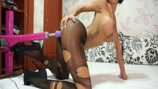 Preview 4 of Anisyia livejasmin stockings, high heels geting fucked by machine part1