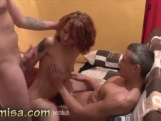 Czech redhead MILF fucks with two horny guys