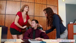Milf office babes Darla Crane and Syren De Mer share dick 3some pussy