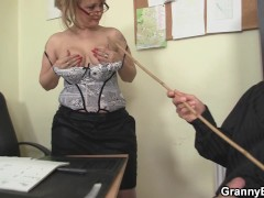 : Sexy old women rides his cock in the office