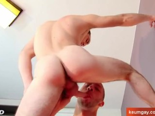 French handsome str8 sport guy gets sucked by a guy despite of himself.