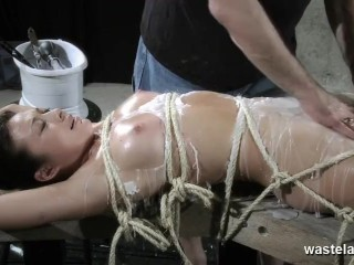 Sure nude slave earns lined with roasting hot wax and given orgasms