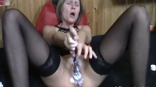 Extreme double fist fucked blond MILF Korean stripping