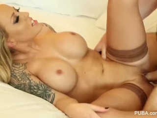 Blonde bombshell Payton West gets her tight pussy fucked