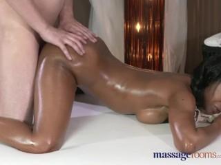 Massage Rooms Dark skinned goddess squirts from hardcore fucking