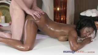 Massage Rooms Dark skinned goddess squirts from hardcore fucking Sex massage