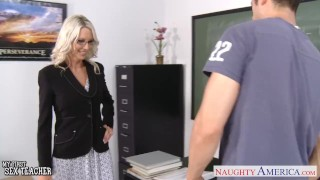 Preview 2 of Sex teacher Emma Starr take cock in classroom