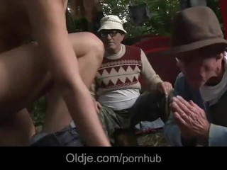 Wandering in the forest young girl gets fucked by two old hobos