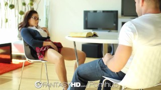 Little student slut Morgan Lee wants to be fucked - FantasyHD  close up babe teen glasses oral hd asian blowjob cumshot hardcore handjob young cock sucking uniform pussy licking fantasyhd