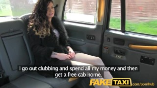 FakeTaxi Saucy brunette talks driver into sex  point of view british amateur blowjob public faketaxi cock sucking spycam car reality gagging tattoos camera deep throat backseat taxi