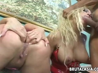 Anal threesome with Asian lass getting thrashed roughly