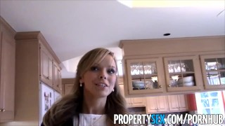 PropertySex - Sexy petite realtor fucks pervert pretending to buy house Mini table