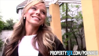 PropertySex - Sexy petite realtor fucks pervert pretending to buy house Oral licking