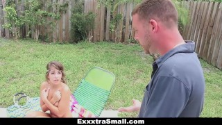 Caught exxxtrasmall teen by fucked her petite neighbor and small granger