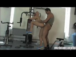Horny blonde slut gets fucked by personal trainer after hot lesbian workout