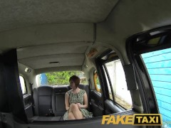Horny redhead tempts driver with sex for taxi fare