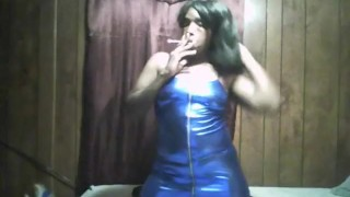 sexy black girl smoking in sexy blue dress