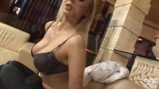 Blonde Russian party girl takes Monster cock in her ass porno