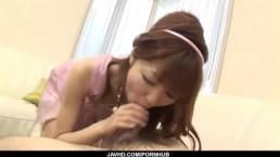 Strong facial forRika Sakurai after warm blowjob