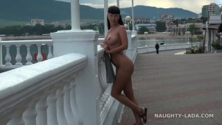 Nude in public. Seafront