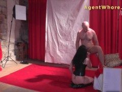 Nasty MILF gives backstage blowjob to casting guy